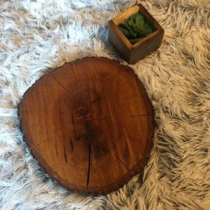 Other - Wood Cut Log Table Top Display Stained Real Wood